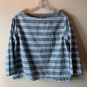 Madewell Grey and White Striped Boatneck Blouse
